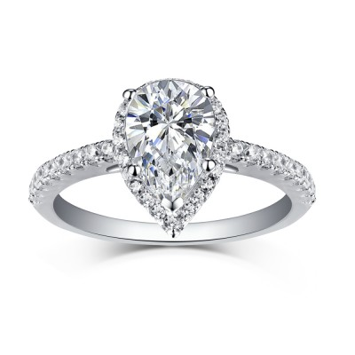 Tinnivi Sterling Silver Pear Cut Created White Sapphire Classic Halo Engagement Ring