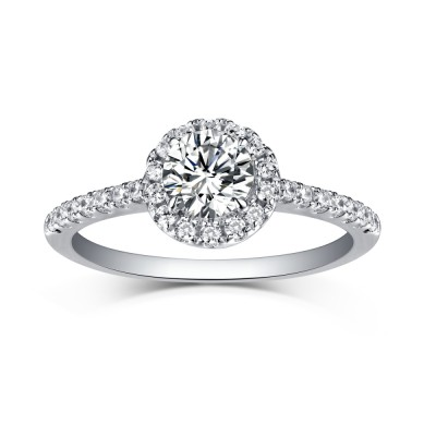 Tinnivi Sterling Silver Round Cut Created White Sapphire Classic Halo Engagement Ring