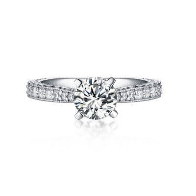 Tinnivi Sterling Silver Hand-Engraved Micropave Created White Sapphire Engagement Ring