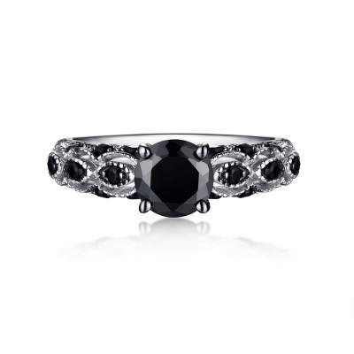 Tinnivi Sterling Silver Round Cut Created Black Diamond Engagement Ring
