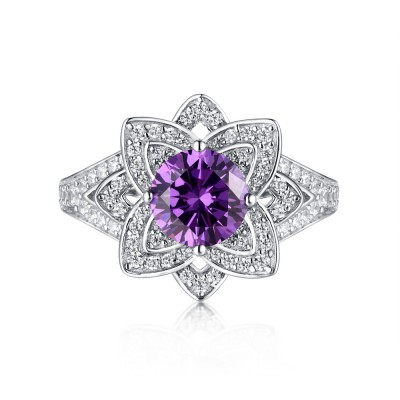 Tinnivi Sterling Silver Round Created Purple Sapphire Lotus Flower Engagement Ring