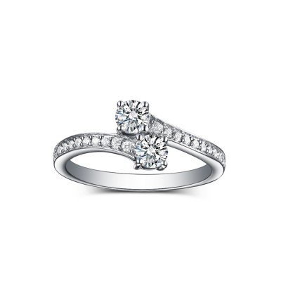 Tinnivi Sterling Silver Round Cut Created White Sapphire 4Prong 2-Stone Engagement Ring