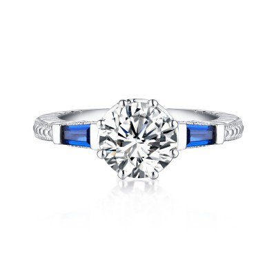 Tinnivi Sterling Sliver Classic Created Diamond and Sapphire Three Stone Engagement Ring