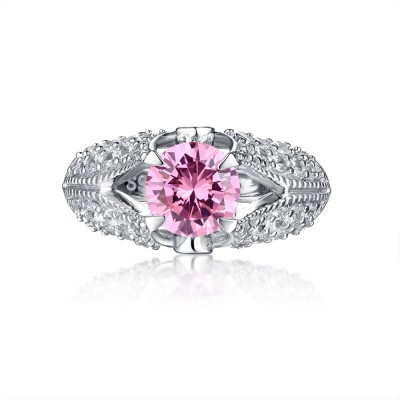 Tinnivi Sterling Silver Pink Round Created White Sapphire Antique Engagement Ring