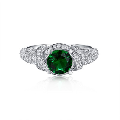 Tinnivi Sterling Silver Green Round Created White Sapphire Antique Engagement Ring