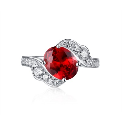 Tinnivi Sterling Silver Created Ruby & Sapphire Unique Solitaire Engagement Ring