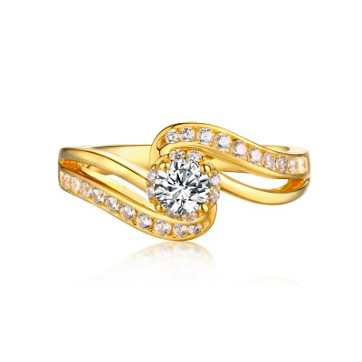 Tinnivi Sterling Silver Round Cut Created White Sapphire Fashion Yellow Engagement Ring