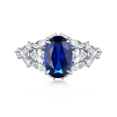 Tinnivi Sterling Silver Oval Cut Vintage Created Sapphire Engagement Ring