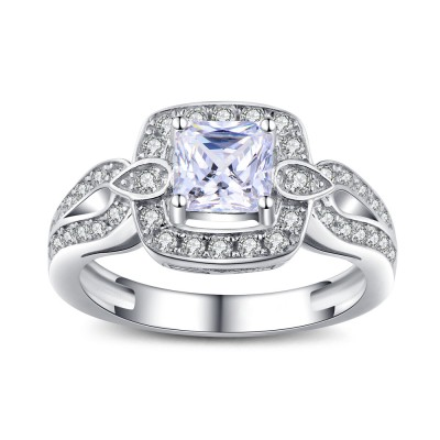 Princess Cut Gemstone Sterling Silver Engagement Rings