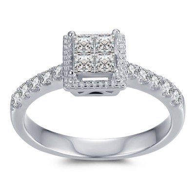 1/4CT Princess Cut Gemstone Sterling Silver Engagement Ring