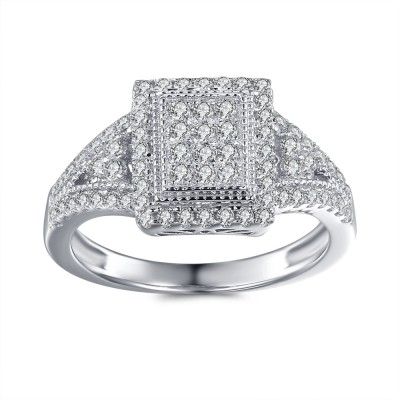 Tinnivi Sterling Silver 1/3CT Round Cut Created White Sapphire Engagement Ring
