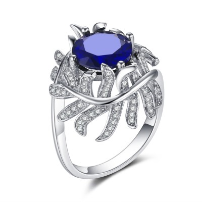 Round Cut Sapphire 925 Sterling Silver Cocktail Ring