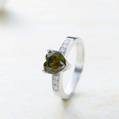 Tinnivi Sterling Silver Heart Cut Created Peridot Promise Ring