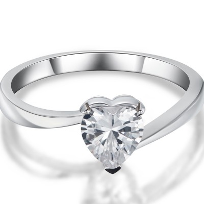 0.5CT Heart Cut White Sapphire 925 Sterling Silver Promise Rings For Her