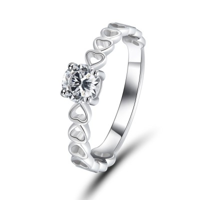 0.5CT Round Cut White Sapphire 925 Sterling Silver Promise Rings For Her