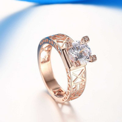 Eiffel Tower Round Cut White Sapphire 925 Sterling Silver Women's Ring