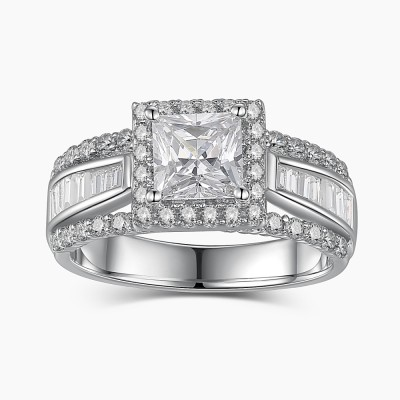 Tinnivi Amazing Princess Cut 925 Sterling Silver Women's Engagement Ring