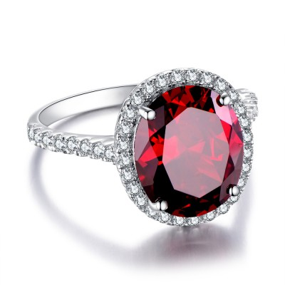 Garnet Big Oval Cut 925 Sterling Silver Women's Ring