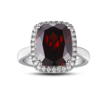 Cushion Cut 925 Sterling Silver Garnet Women's Ring