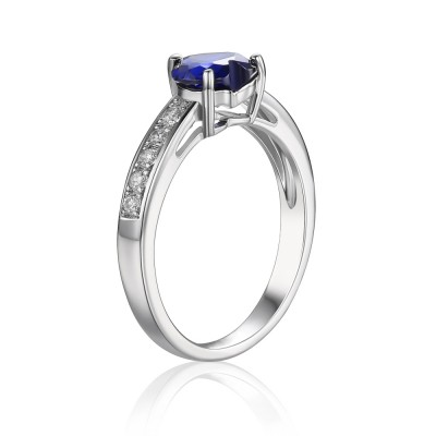 Sapphire Heart Cut 925 Sterling Silver Women's Engagement Ring