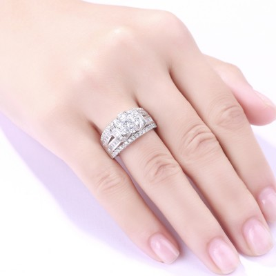 Tinnivi Round Cut Flower White Sapphire 925 Sterling Silver Women's Engagement Ring
