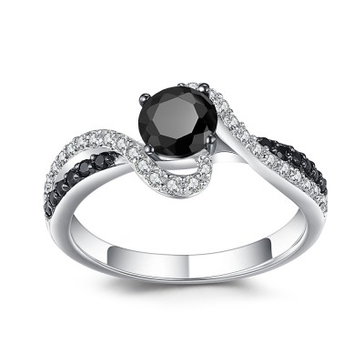 Round Cut Black 925 Sterling Silver Engagement Ring