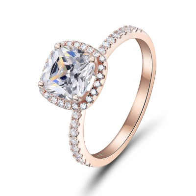 Tinnivi Cushion Cut Rose Gold 925 Sterling Silver Engagement Ring