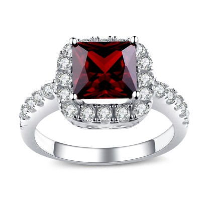 Princess Cut Ruby 925 Sterling Silver Birthstone Ring