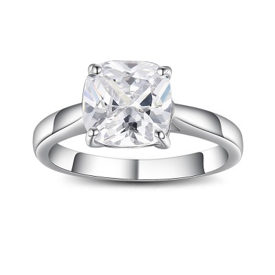 Cushion Cut Gemstone 925 Sterling Silver Promise Rings For Her