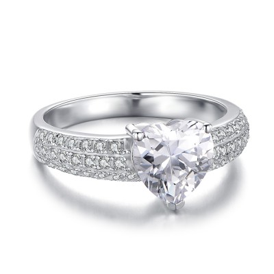 Heart Cut White Sapphire 925 Sterling Silver Women's Engagement Ring