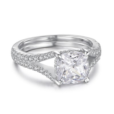 Princess Cut 925 Sterling Silver Engagement Ring