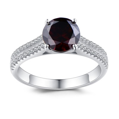 Round Cut Sterling Sliver Created Garnet Engagement Ring