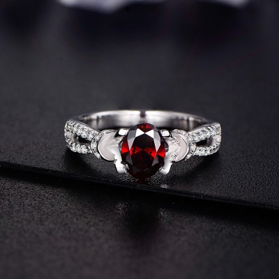 Oval Cut Garnet 925 Sterling Silver Birthstone Rings