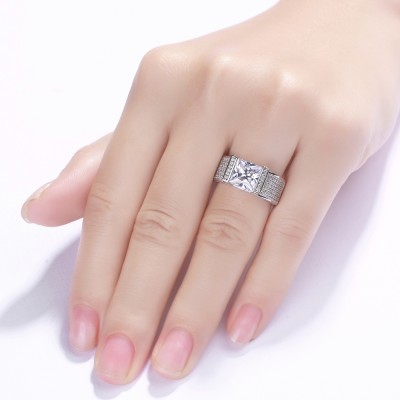 Tinnivi Princess Cut White Sapphire 925 Sterling Silver Engagement Ring
