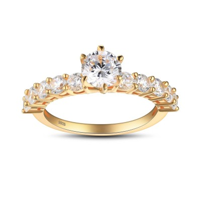 Round Cut White Sapphire Gold Color 925 Sterling Silver Engagement Ring