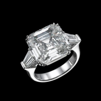 Asscher Cut White Sapphire 3 Stone 925 Sterling Silver Engagement Ring