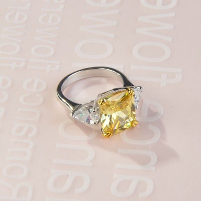 Cushion Cut Topaz 925 Sterling Silver Engagement Ring with Pear Side Stone