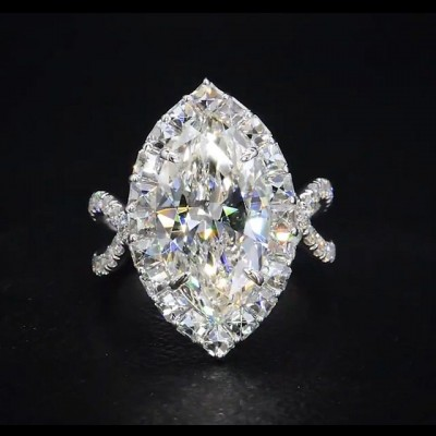 Marquise Cut White Sapphire 925 Sterling Silver Engagement Ring