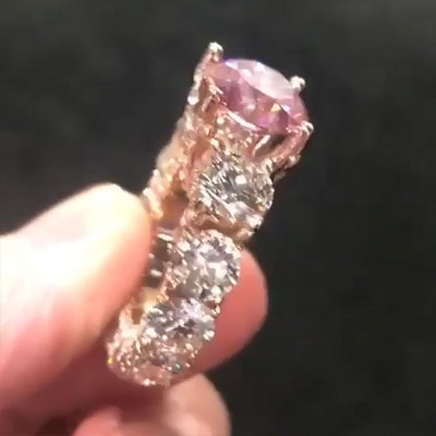 Round Cut Pink Sapphire 925 Sterling Silver Engagement Ring