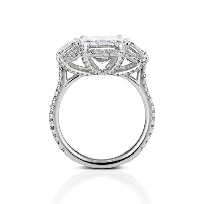 Asscher Cut White Sapphire 925 Sterling Silver Halo Style Three Stone Engagement Ring