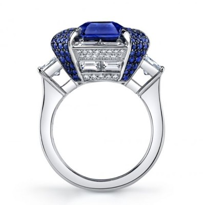 Emerald Cut Blue Sapphire 925 Sterling Silver Engagement Ring