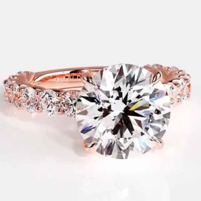 Round Cut White Sapphire 925 Sterling Silver Engagement Ring with Rose Gold Band