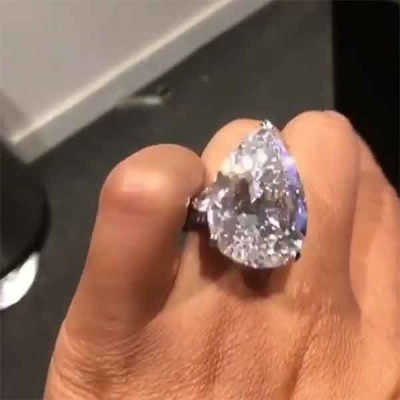 Pear Cut White Sapphire 925 Sterling Silver Engagement Ring  with Two Trillion Sidestones