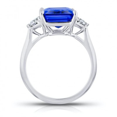 Emerald Cut Blue Sapphir 925 Sterling Silver Halo Engagement Ring