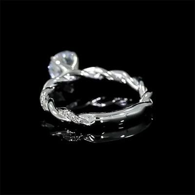 Round Cut White Sapphire 925 Sterling Silver Twist Engagement Ring