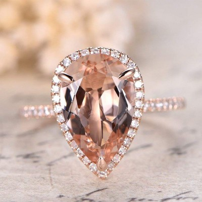 Pear Cut White Sapphire 925 Sterling Silver Engagement Ring with Rose Gold Tone