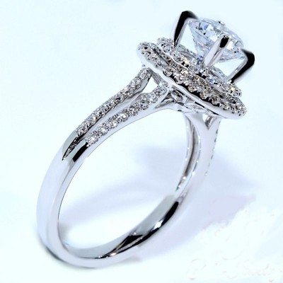 Shinny Round Cut White Sapphire 925 Sterling Silver Engagement Ring