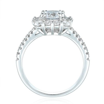 Sparkling Round Cut White Sapphire 925 Sterling Silver Halo Engagement Ring