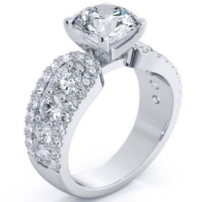 Fancy Round Cut White Sapphire 925 Sterling Silver Halo Engagement Ring