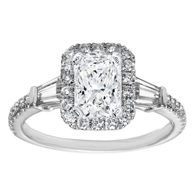Radiant Cut White Sapphire 925 Sterling Silver Halo Engagement Ring